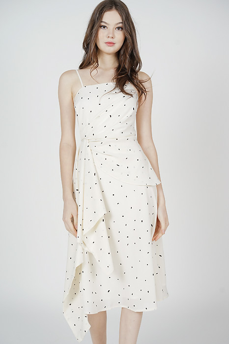 Halyon Side Ruffled Dress in White Dots
