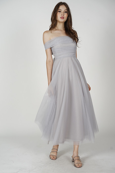 Kelicia Convertible Tulle Dress in Dusty Blue