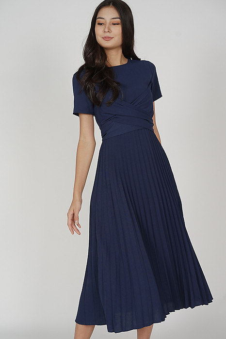Berni Criss Cross Pleated Dress in Midnight