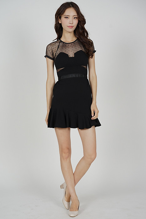 Halca Ruffled-Hem Dress in Black