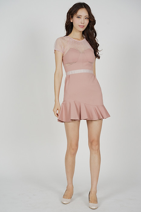 Halca Ruffled-Hem Dress in Pink