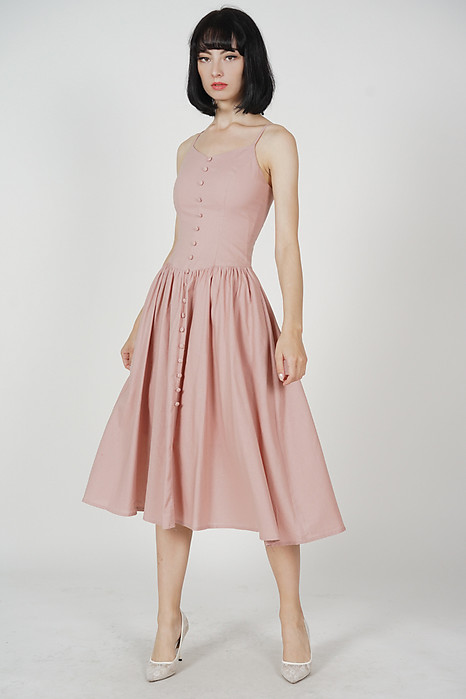 Jorden Gathered Dress in Pink