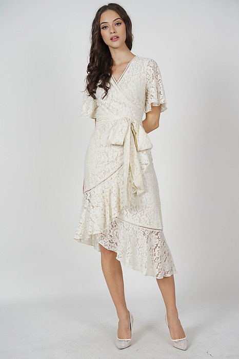 Reika Tie Wrapped Dress in Cream