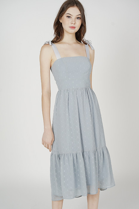 Jugrie Ruffled-Hem Dress in Ash Blue