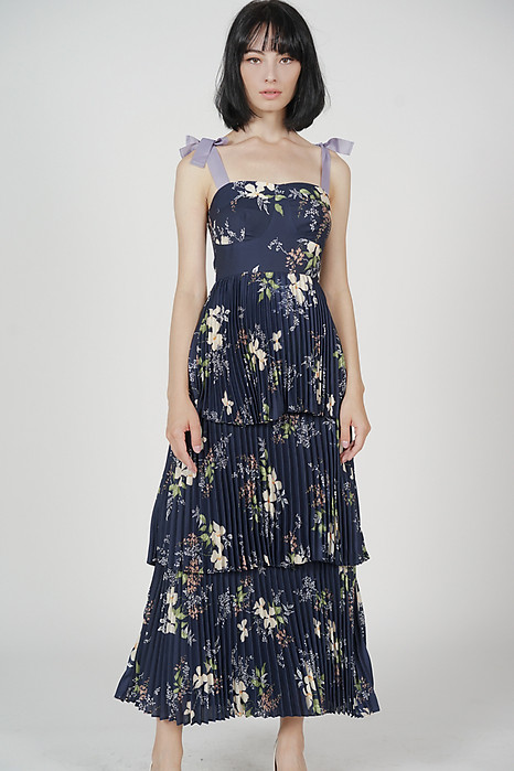 Kandira Pleated Tiered Dress in Midnight Floral