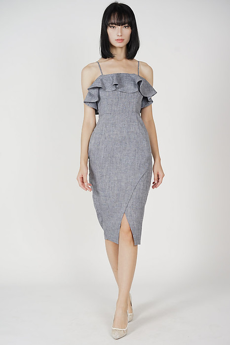 Phylie Overlay Ruffled Dress in Grey
