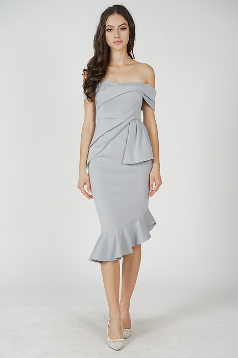 Lenya Ruffled Dress in Ash Blue