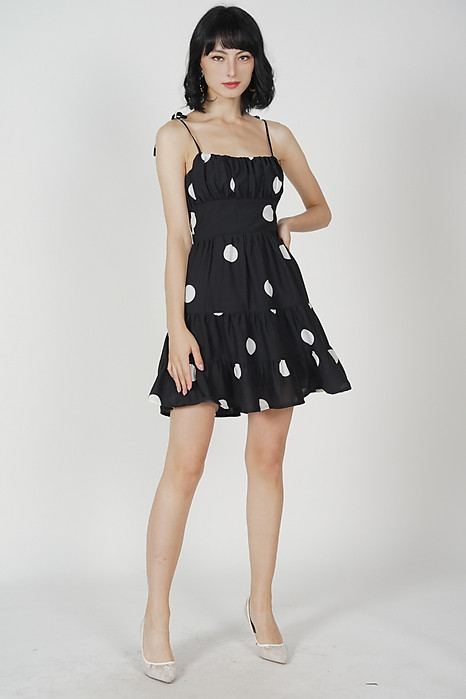 Miriam Gathered Dress in Black Polka Dots