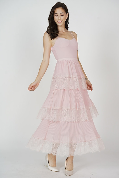 Armia Tiered Dress in Pink
