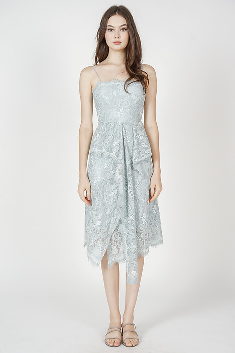 Gwenith Lace Dress in Ash Blue