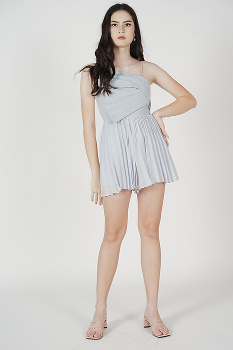 Zann Pleated Romper in Ash Blue