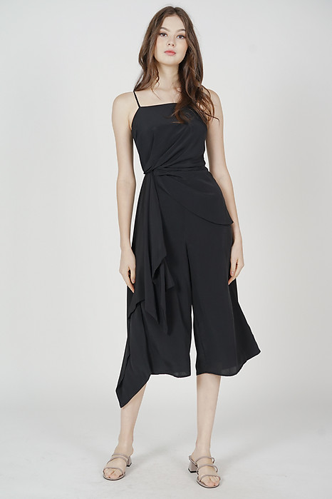 Nathan Side Ruffled Jumpsuit in Black