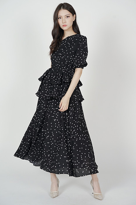 Colleen Toga Ruffled Dress in Black Polka Dots