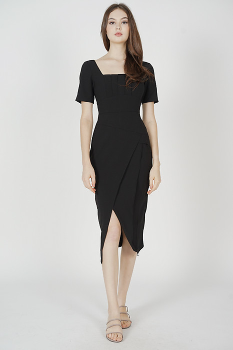Inez Square-Neck Dress in Black