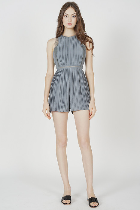 Kaydi Pleated Romper in Dusty Blue