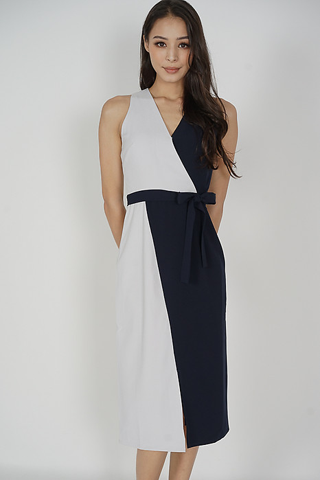 Klara Contrast Dress in White Midnight