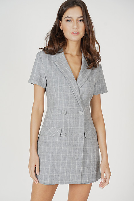 Jaeho Buttoned Romper in Grey Checks