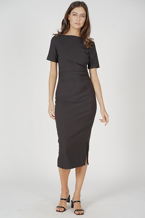 Nicolette Midi Dress in Black