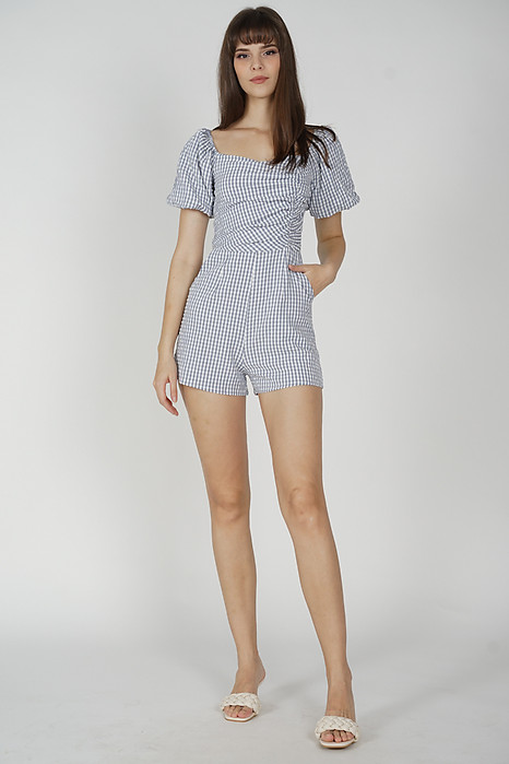 Yooni Puffy Romper in Ash Blue