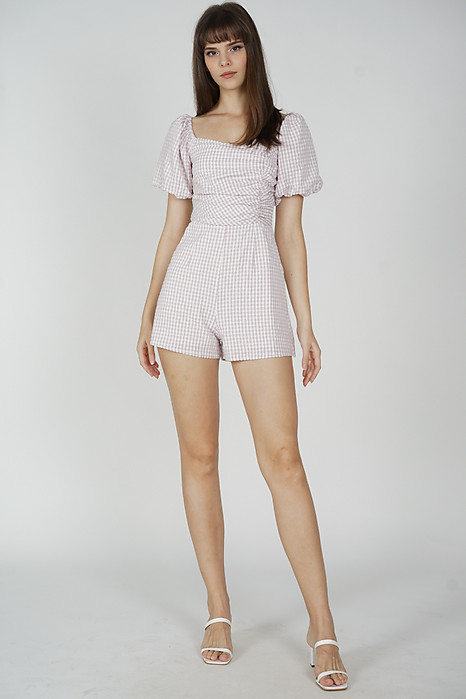 Yooni Puffy Romper in Lilac Pink