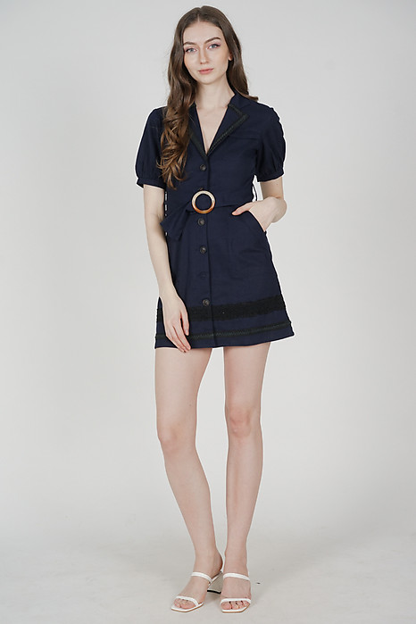 Rubio Buttoned Dress in Midnight