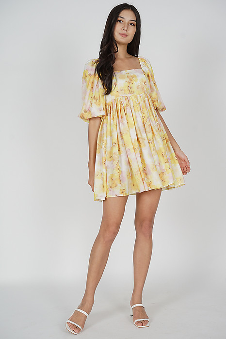 Sannie Gathered Dress in Yellow Floral