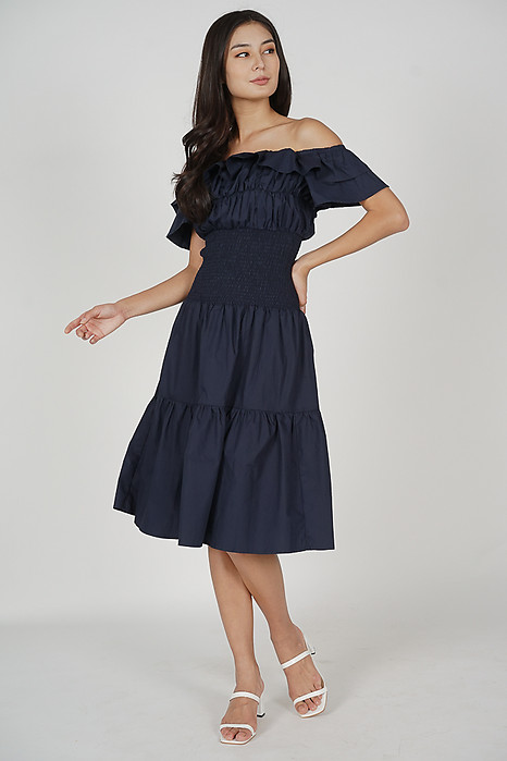 Taki Smocked Dress in Midnight