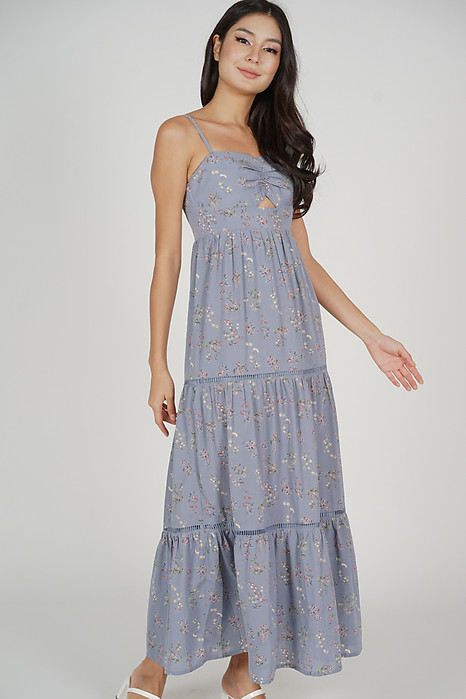Arleth Maxi Dress in Ash Blue Floral