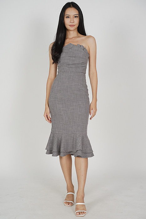 Vegh Ruffled-Hem Dress in Heather Grey
