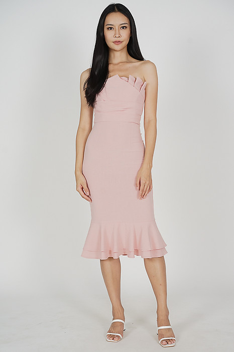 Vegh Ruffled-Hem Dress in Pink