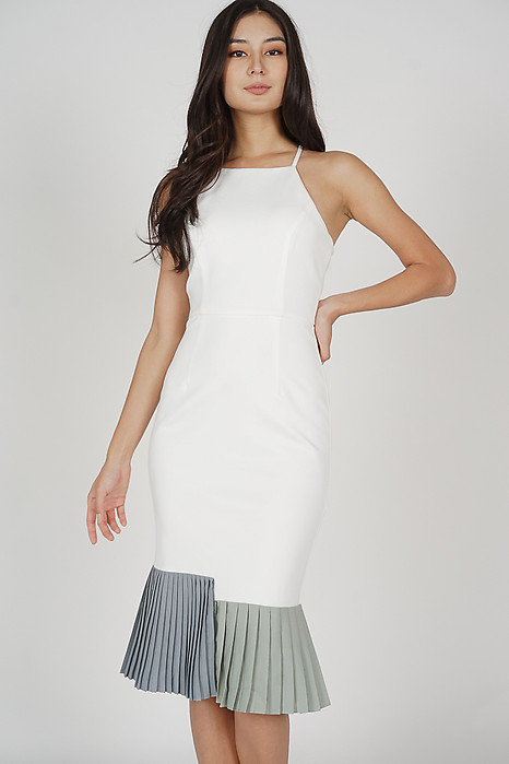 Dilara Pleated-Hem Dress in White