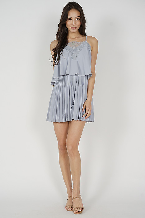 Boni Pleated Romper in Ash Blue
