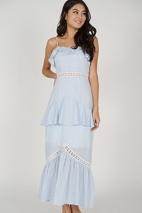 Geena Ruffled Dress in Blue Stripes