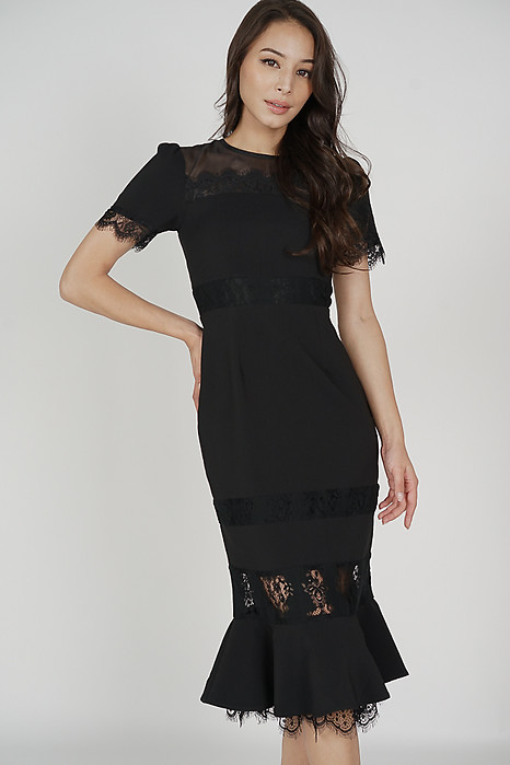 Beckyn Lace-Trimmed Dress in Black