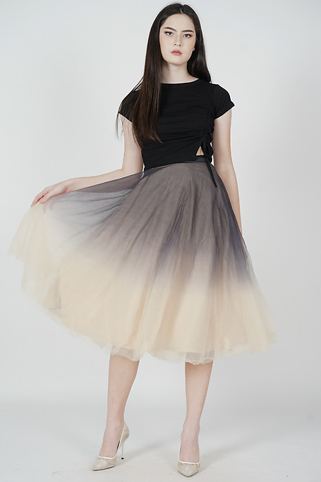 Luna Ombre Tulle Skirt in Black Nude