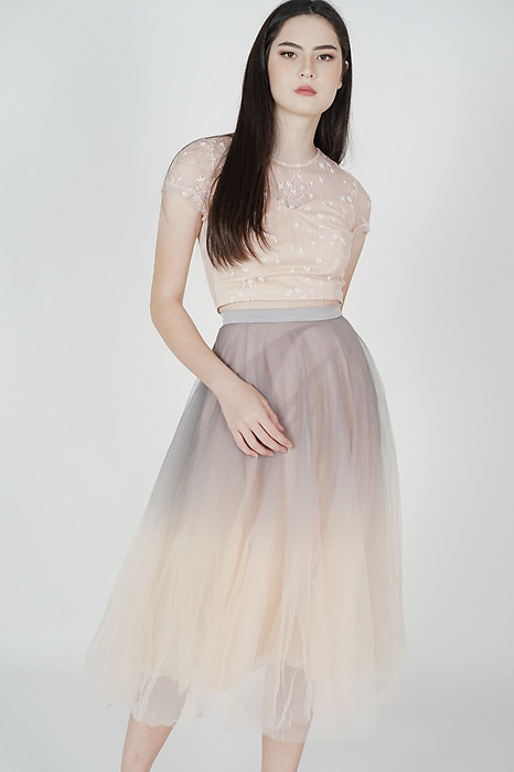 Luna Ombre Tulle Skirt in Grey Pink
