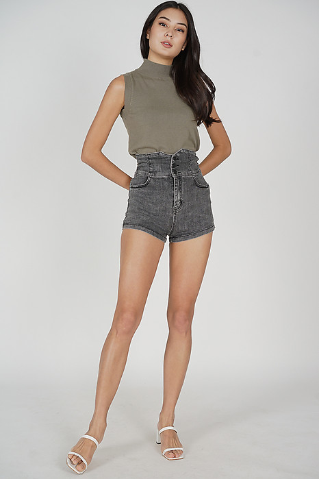 Elen High Waist Shorts in Black