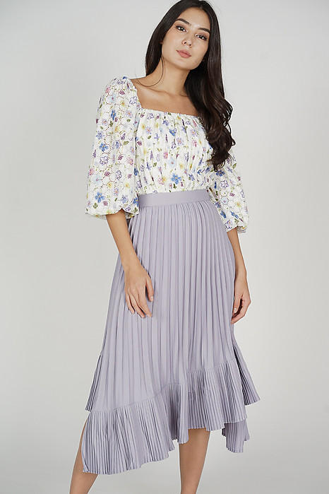 Holden Asymmetrical Pleated Skirt in Lilac