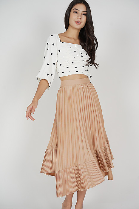 Holden Asymmetrical Pleated Skirt in Nude