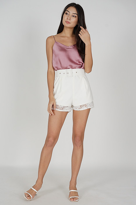 Ari Buckled Lace Shorts in White