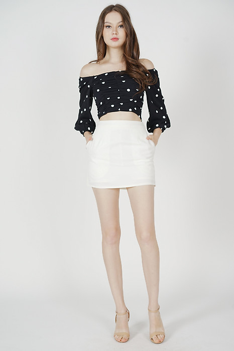 Zyra Ruched Top in Black Polka Dots