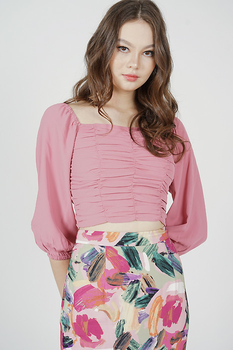 Zyra Ruched Top in Pink