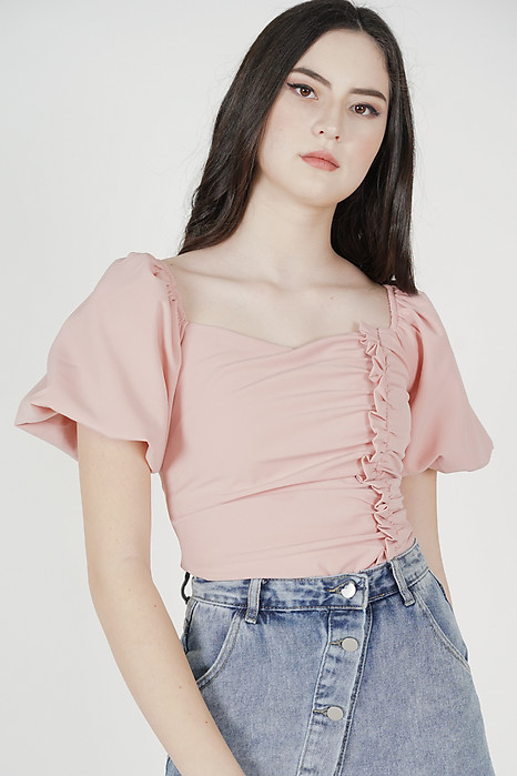 Liza Gathered Puffy Top in Pink