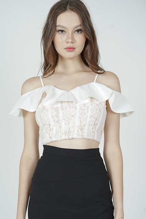 Joelle Ruffled Lace Top in White