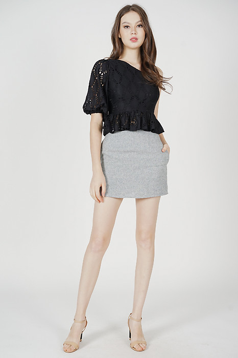 Ganza Toga Ruffled Top in Black