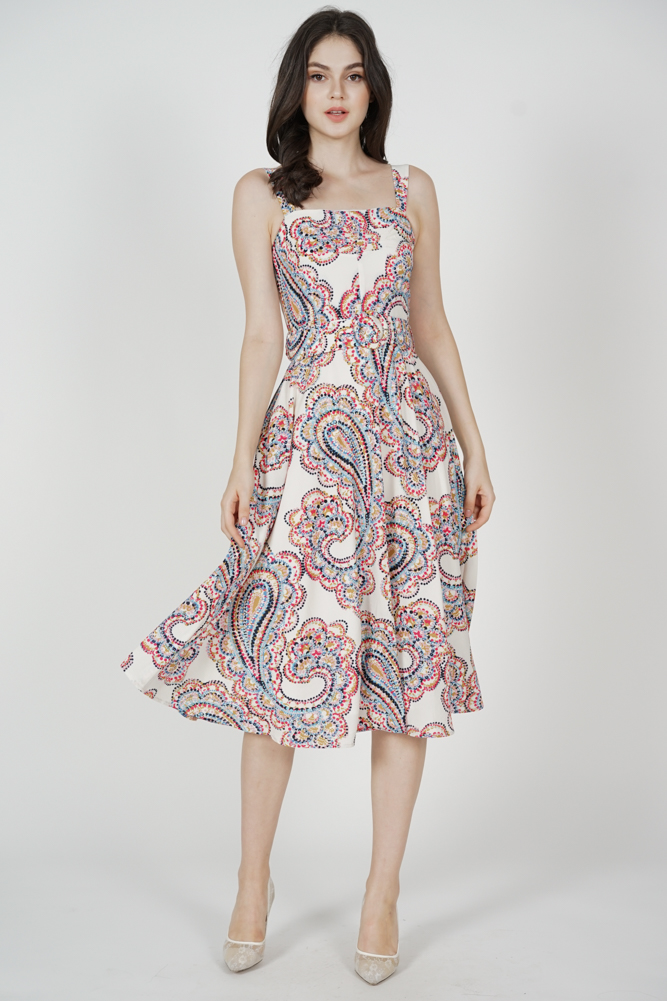 Flared Midi Dress in White Multi
