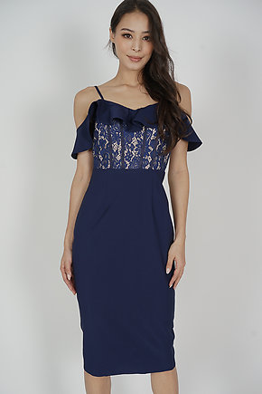 Hethalia Ruffled Lace Dress in Navy