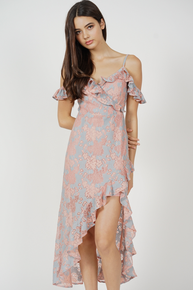Dexie Asymmetrical Frilly Dress in Pink Blue