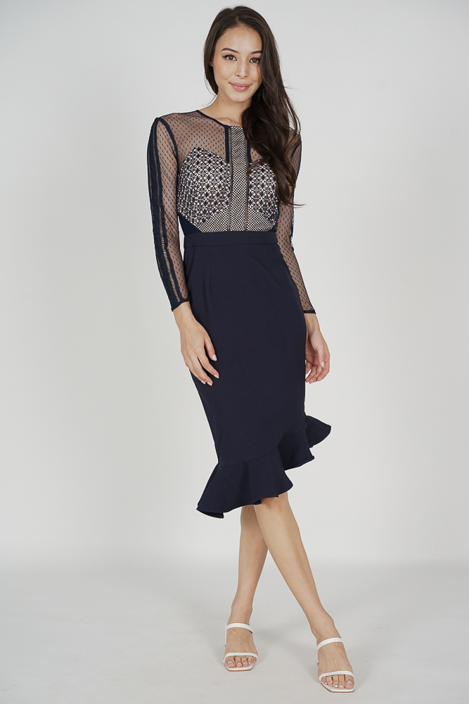 Sofya Lace Dress in Midnight