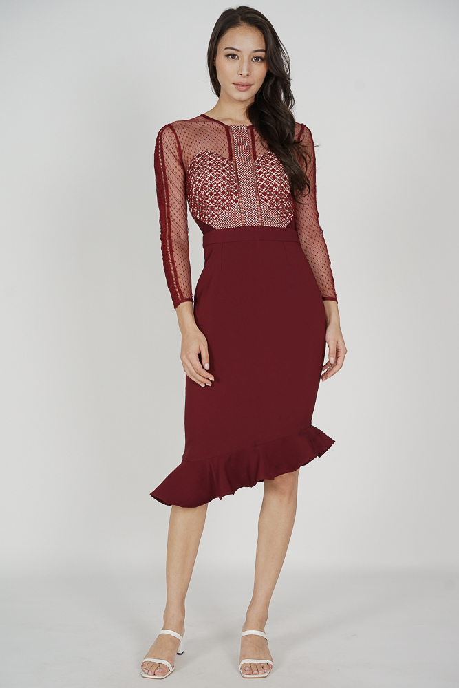 Sofya Lace Dress in Oxblood